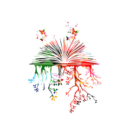 Colorful book with trees and butterflies Stock Illustratie