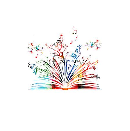 Kleurrijk boek met bomen en kolibries