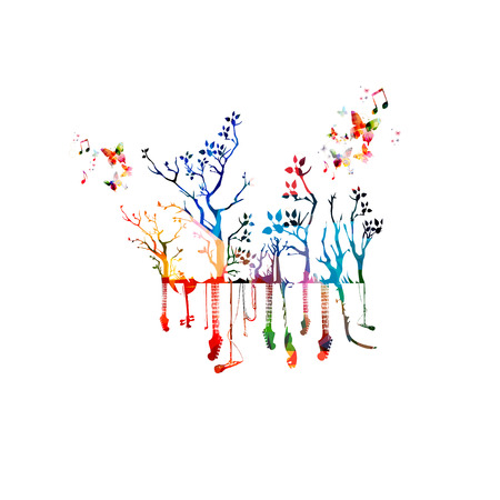 music instruments: Colorful music instruments with trees Illustration