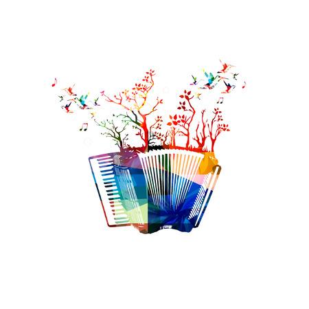acordeón: acordeón colorido con árboles Vectores
