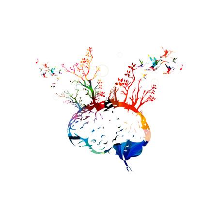 木、コンセプトをブレインストーミングでカラフルな人間の脳  イラスト・ベクター素材