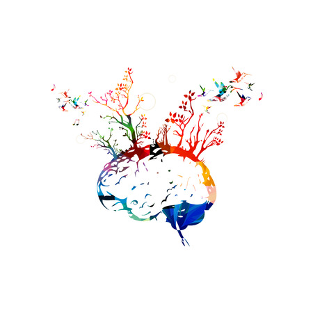 Colorful human brain with trees, brainstorming concept Фото со стока - 57564154