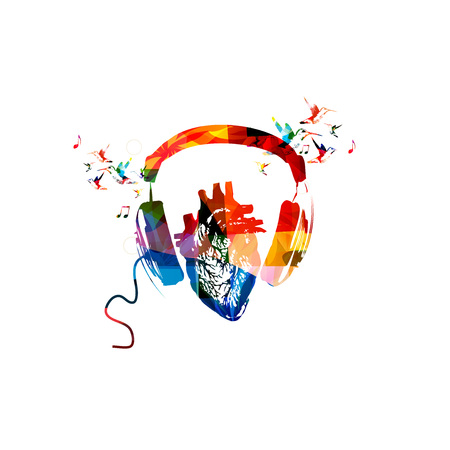 chillout: Colorful headphones with human heart