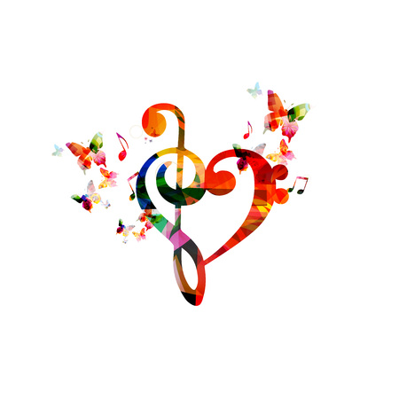 Colorful G-clef heart with butterflies Vectores