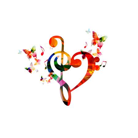 Kleurrijke G-sleutel hart met vlinders Stock Illustratie
