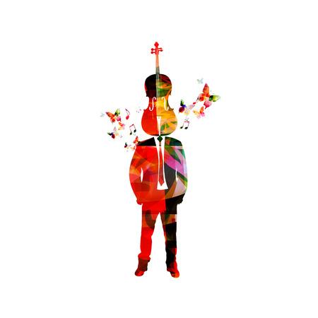 violoncello: Man with violoncello head. Music inspires concept