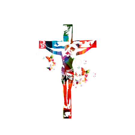 Vector illustration of colorful cross isolated on white background Ilustração