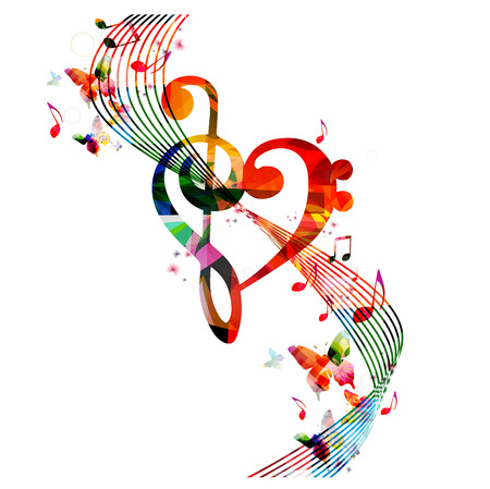 Colorful G-clef heart with music notes and butterflies