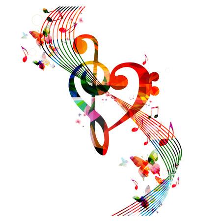 Corazón colorido clave de sol con notas de música y mariposas