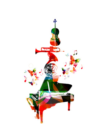 violoncello: Vector illustration for music inspires concept combining set of music instruments, piano, french horn, trumpet and violoncello, collected from flower ornament elements and decorated with butterflies