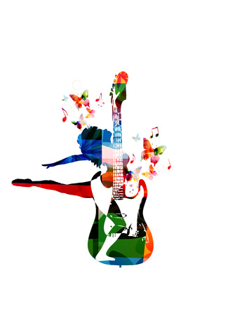 Woman beat guitar: Vector illustration for music inspires concept combining colorful guitar with dancing woman figure, collected from various elements of flower ornament and decorated with butterflies