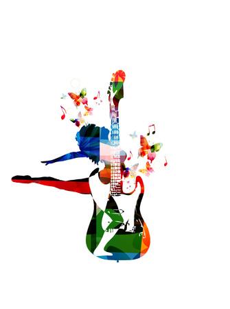 音楽のベクトル図を刺激する女性像、花飾りのさまざまな要素から収集され、飾られた蝶のダンスとカラフルなギターを組み合わせることの概念