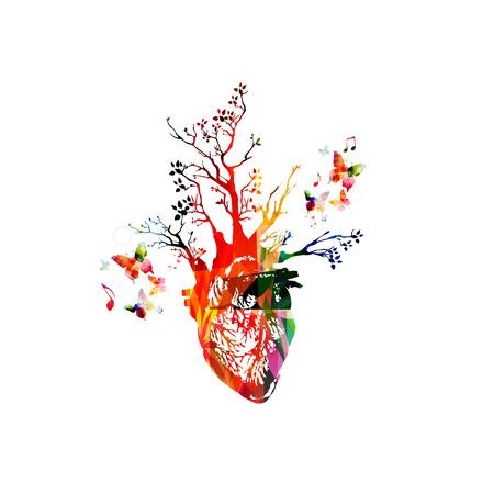 Ilustración del vector para el concepto de estilo de vida saludable que combina corazón humano colorido con árboles que crecen, recogidos de diversos elementos de adorno de flores y decorado con mariposas Ilustración de vector