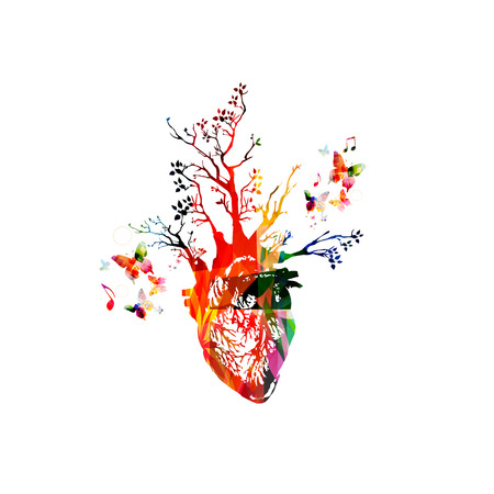 ventricle: Vector illustration for healthy lifestyle concept combining colorful human heart with growing trees, collected from various elements of flower ornament and decorated with butterflies