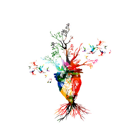 Vector illustration for healthy lifestyle concept combining colorful human heart with growing trees, collected from flower ornament elements and decorated with hummingbirds. Imaginative tree heart Ilustração