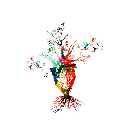 Vektor-Illustration für einen gesunden Lebensstil Konzept, das bunte menschliche Herz mit wachsenden Bäumen, gesammelt von Blumen-Ornament-Elementen und mit Kolibris dekoriert. Imaginative Baum Herz