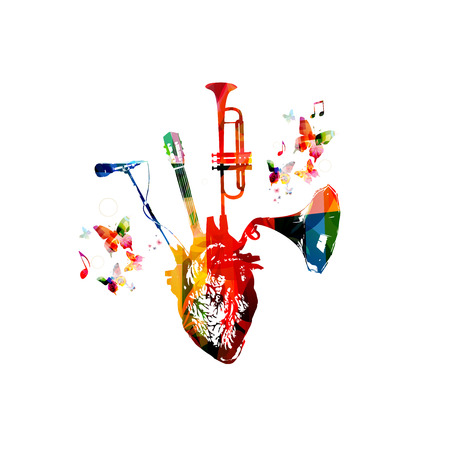 Vector illustration for music inspires combining colorful human heart with set of music instruments, trumpet, vintage gramophone speaker, microphone and guitar fretboard, decorated with butterflies