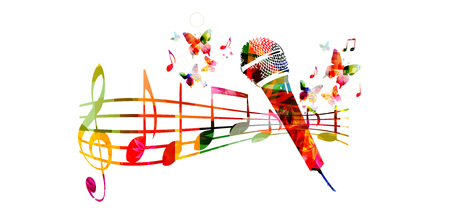 Colorful music background with microphone and music notes Çizim