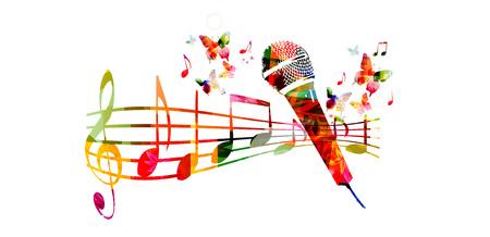 Kleurrijke muziek achtergrond met microfoon en muziek noten Stockfoto - 61585835