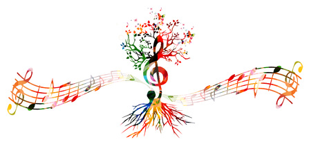Colorful music background with G-clef tree