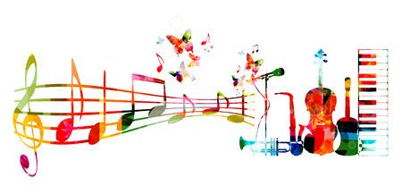 Fondo de música colorido con los instrumentos musicales y notas Ilustración de vector