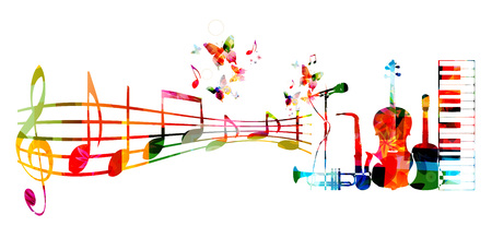 Colorful music background with music instruments and notes Stock Illustratie