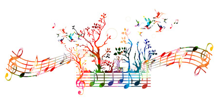 Colorful music background with music notes and hummingbirds Ilustracja
