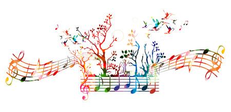 Kolorowe tło muzyczne z nut i kolibry