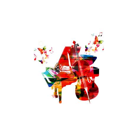 violoncello: Colorful music background with violoncello and piano