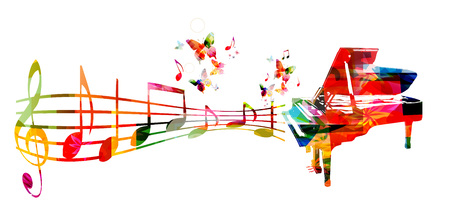 Colorful music background with piano and music notes Stock Illustratie