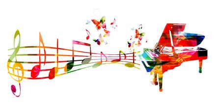 Kolorowe tło muzyczne z fortepianem i nutami muzyki