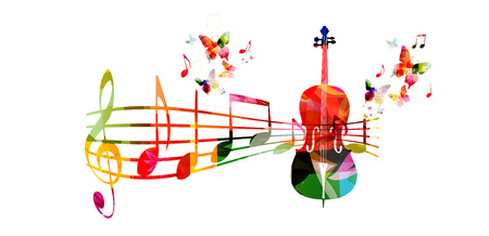 첼로 음악 노트와 함께 다채로운 음악 배경 일러스트