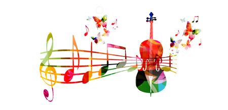 Kleurrijke muziek achtergrond met cello en muziek noten