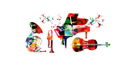 Colorful music background with music instruments and hummingbirds Imagens - 61585847