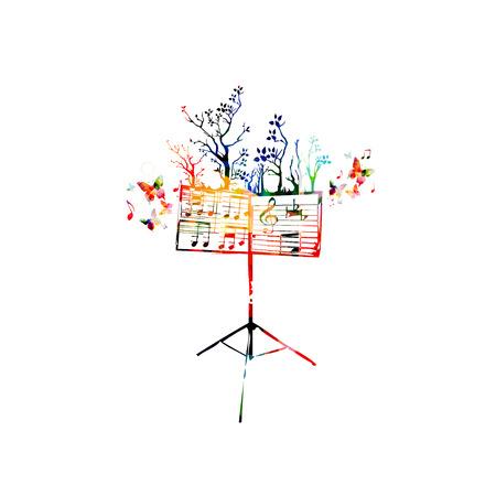 Kleurrijke muziek achtergrond met lessenaar en vlinders