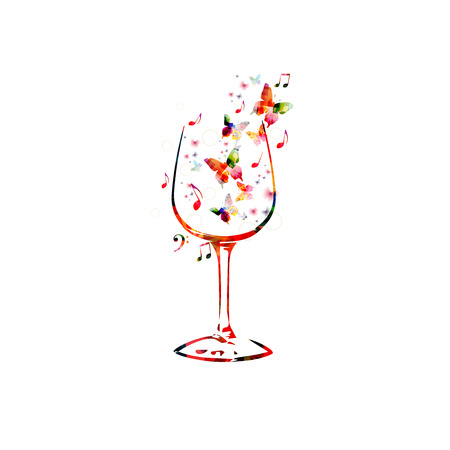 sommelier: Vector illustration of colorful wineglass with butterflies