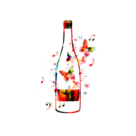 Vector illustration of colorful bottle with butterflies Illustration