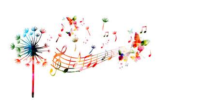 音符とカラフルなタンポポ  イラスト・ベクター素材