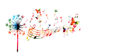 Colorful dandelion with music notes Stock Illustratie