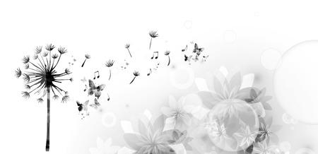 Paardebloem met vlinders tijm Stock Illustratie