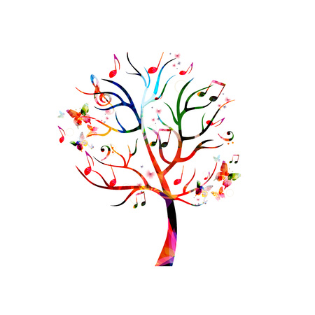 Colorful music tree with music notes and butterflies