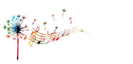 Colorful dandelion with music notes Çizim