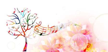 tree  forest: Colorful music tree with music notes and butterflies