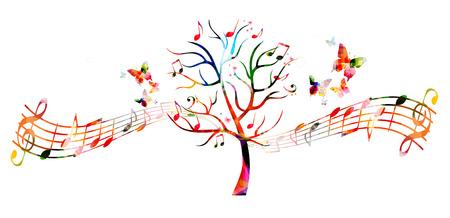 RBol colorido de la música con las notas musicales y mariposas Foto de archivo - 61586149