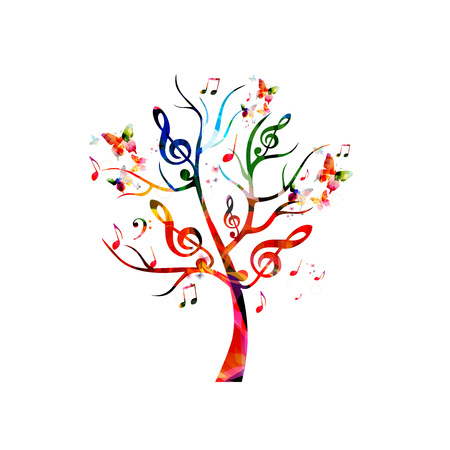 Colorful music tree with music notes and butterflies Stok Fotoğraf - 61586150