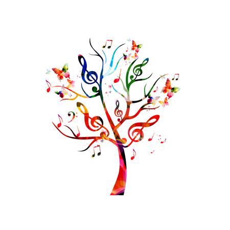 Kleurrijke muziek boom met muzieknoten en vlinders