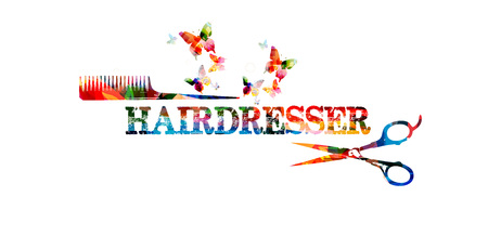 hair color: Hairdressing tools background with colorful comb and scissors