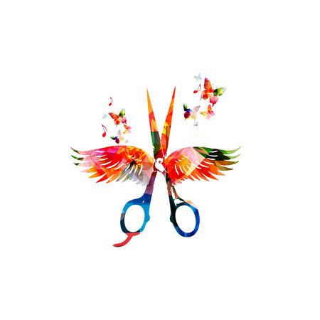 tijeras: fondo de peluquería con unas tijeras de colores con alas