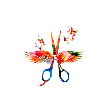 Hairdressing background with colorful scissors with wings Çizim