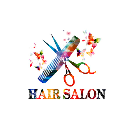 Hairdressing tools background with colorful comb and scissors